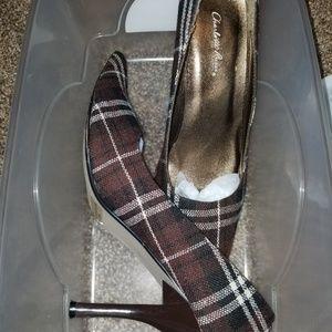 Brown plaid heels